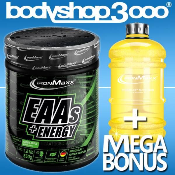 Ironmaxx EAA'S + Energy 550g + Waterbottle 2,2 Liter gratis