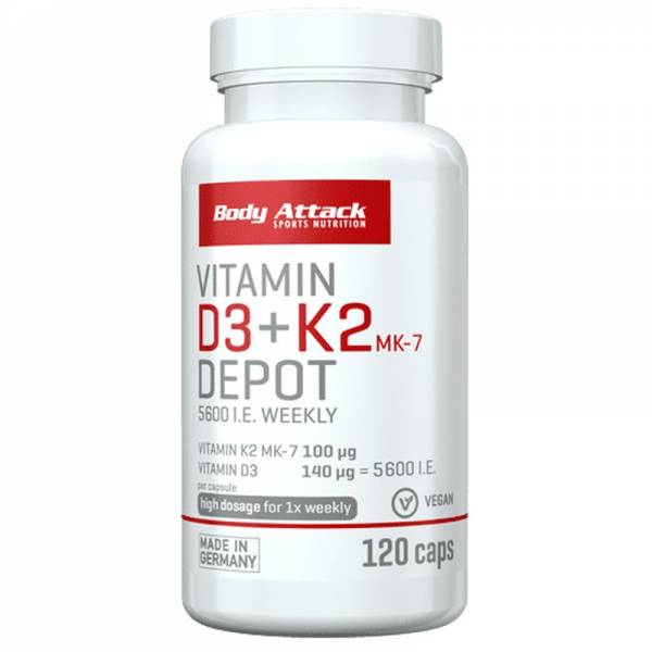 Body Attack Vitamin D3 +K2 MK-7 Depot Vegan