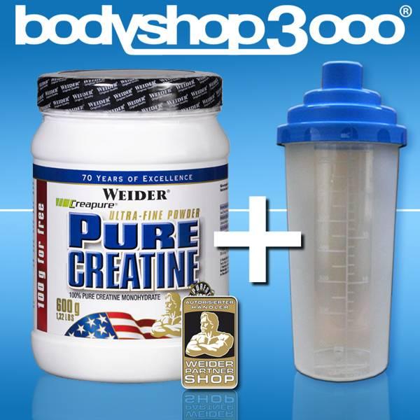 Weider Pure Creatine 600g Creapure Monohydrat Powder +Gratisshaker